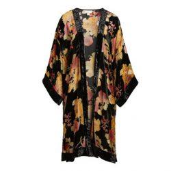black gold velvet kimono