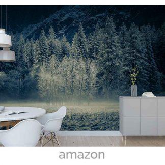 wallpaper frosty trees dark