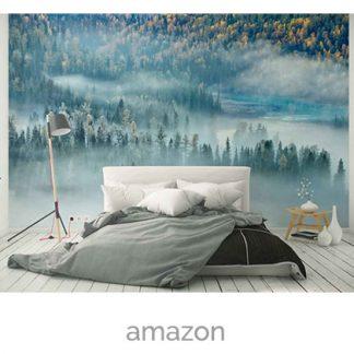 wallpaper mist forest mountain