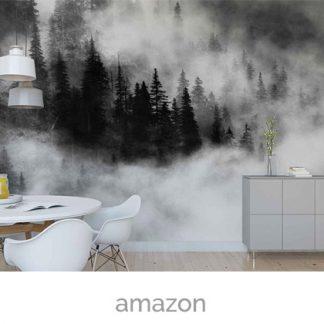 wallpaper pine trees mist