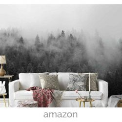 wallpaper winte trees fog